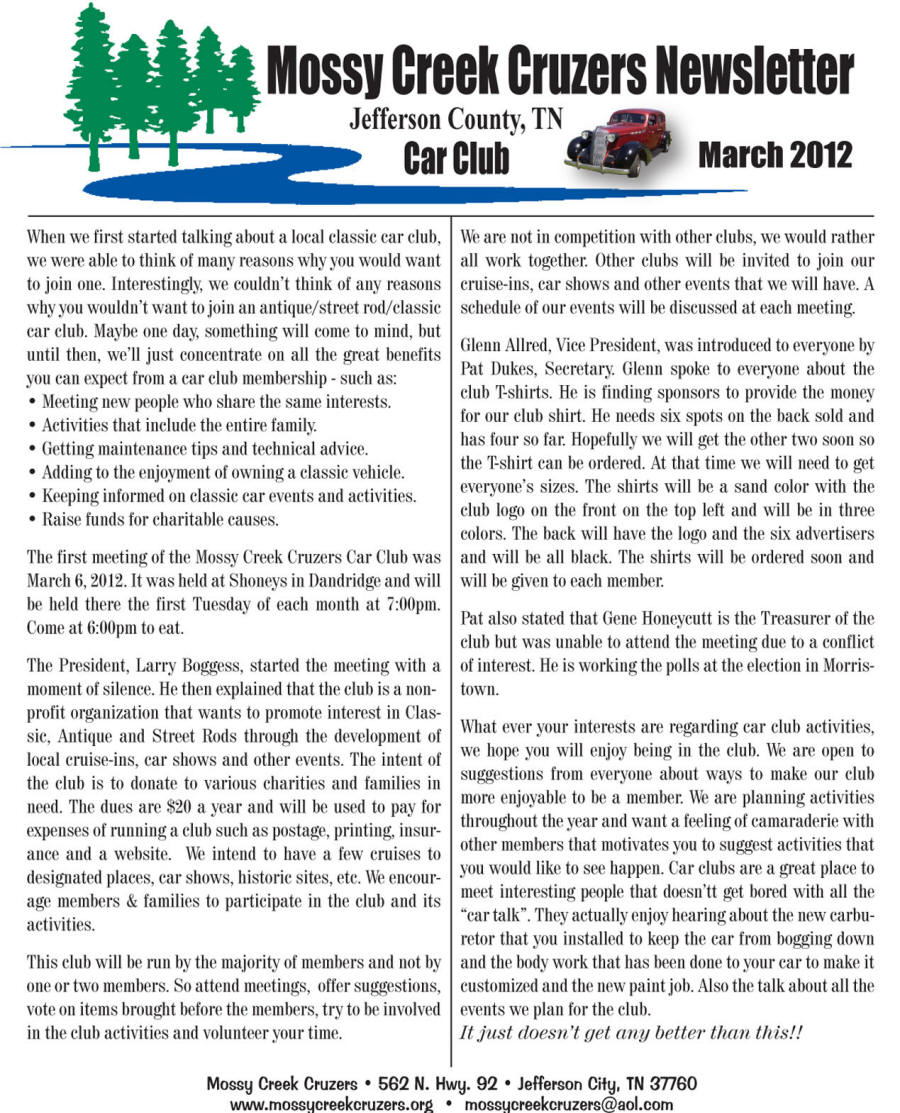 March 2012 Newsletter Page 1
