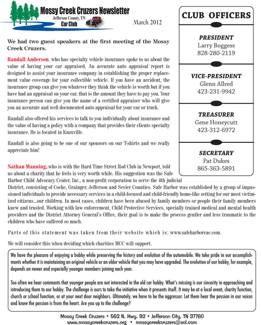 March 2012 Newsletter Page 2