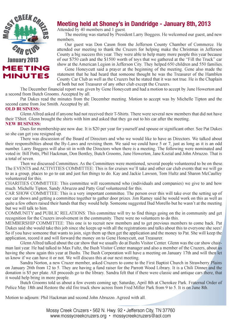 January 2013 Newsletter Page 2