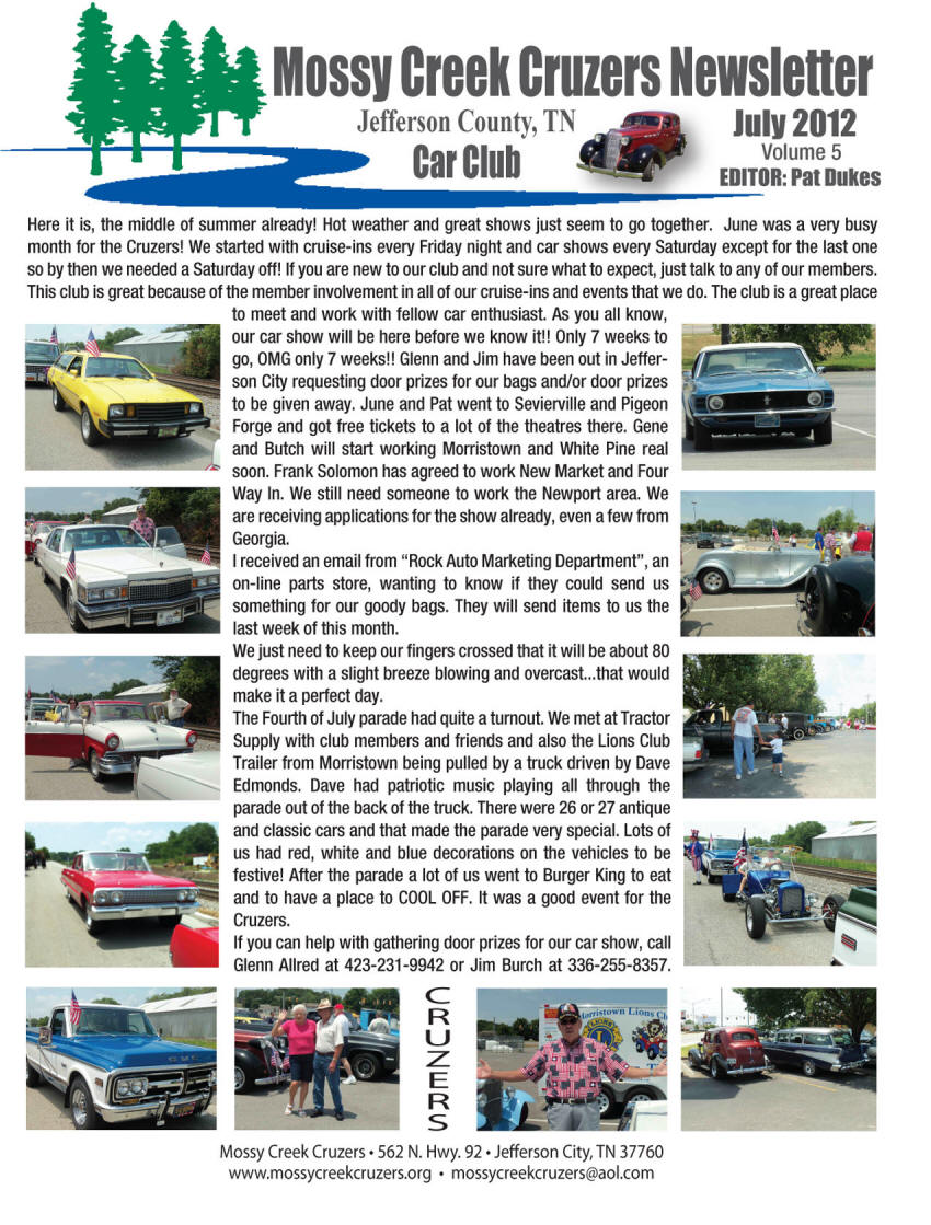 July 2012 Newsletter Page 1