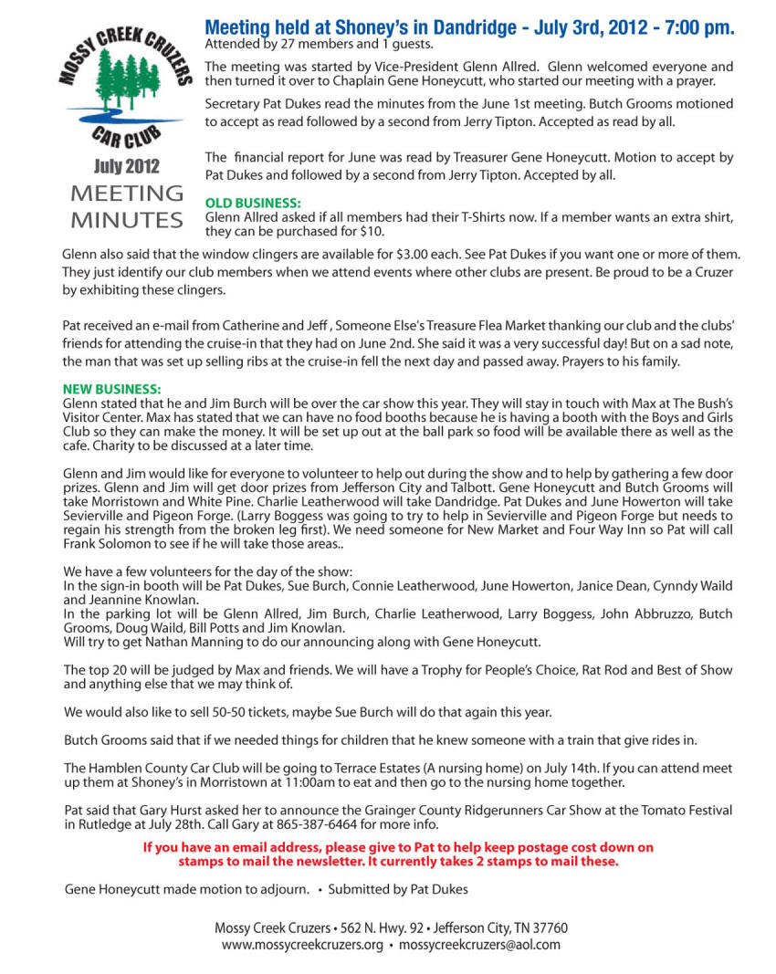 July 2012 Newsletter Page 2