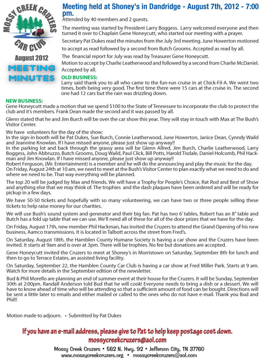 August 2012 Newsletter Page 2