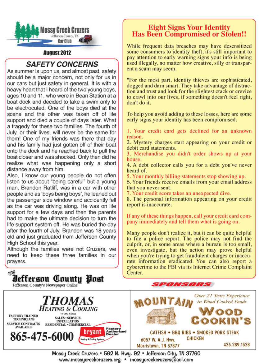 August 2012 Newsletter Page 5