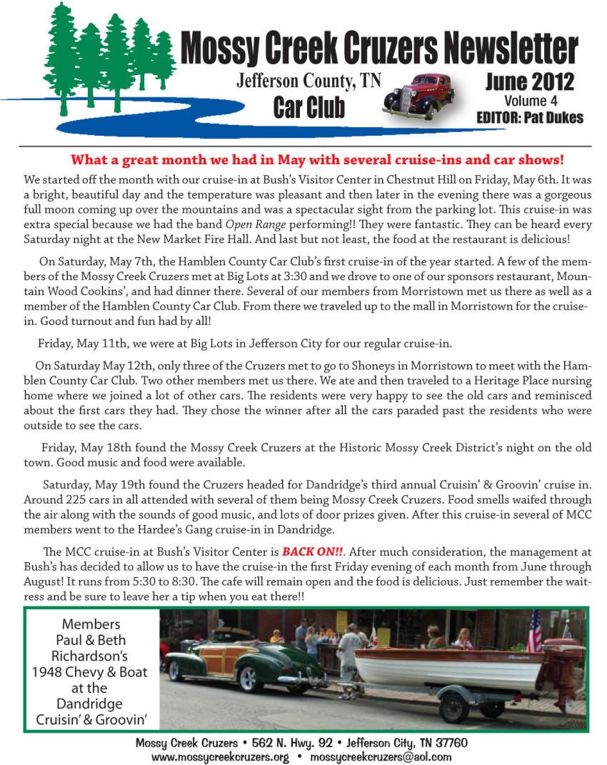 June 2012 Newsletter Page 1