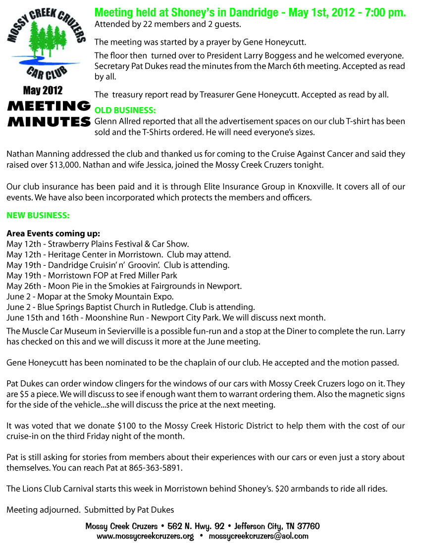 May 2012 Newsletter Page 2