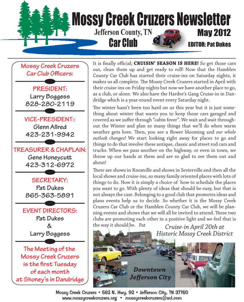 May 2012 Newsletter Page 1
