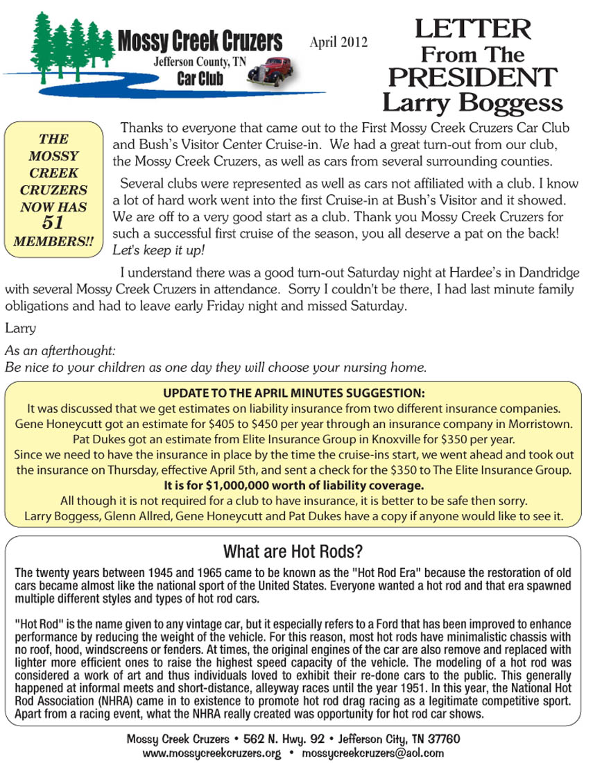 April 2012 Newsletter Page 3